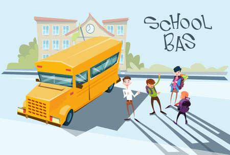 yellow schoolbus: Schoolchildren Group Near Yellow Bus School Exterior Flat Vector Illustration