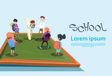 schoolchildren: Schoolchildren Group Back To School Education Banner Flat Vector Illustration Illustration