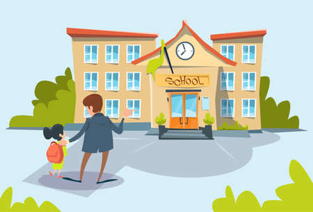 Father Bring Daughter To School Flat Vector Illustration