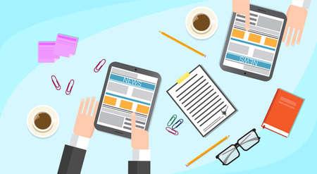 Business People Read Newspaper, Hands Tablet News Desk Office Flat Vector Illustration
