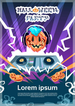 Happy Halloween Banner Jack DJ With Pumpkin Scary Face Invitation Card Flat Vector Illustration