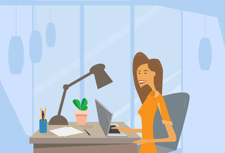 woman using laptop: Business Woman Using Laptop Computer Workplace Office Desk Flat Vector Illustration