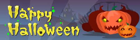 Happy Halloween Banner Kürbis beängstigendes Gesicht Wohnung Vector Illustration