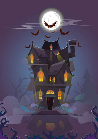 House Halloween Night Bats Flying Around Flat Vector Illustration Vector Illustration