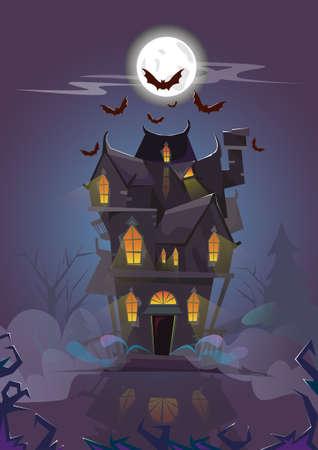 Huis Halloween Night Bats Flying Around Flat Vector Illustratie Vector Illustratie
