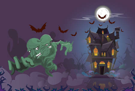 house party: Happy Halloween Monster Night House Party Invitation Card Flat Vector Illustration Illustration
