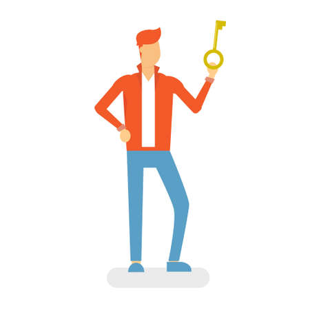 hold: Man Hold Key Flat Vector Illustration