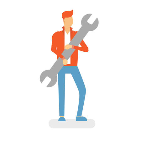 Man Hold Wrench Service Worker Flat Vector Illustration