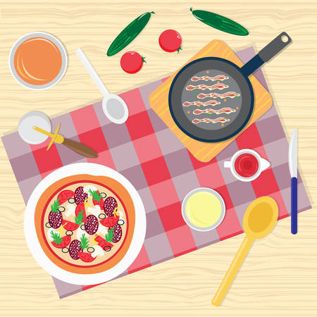 table with food: Breakfast Table Food Top Angle View Vector Illustration