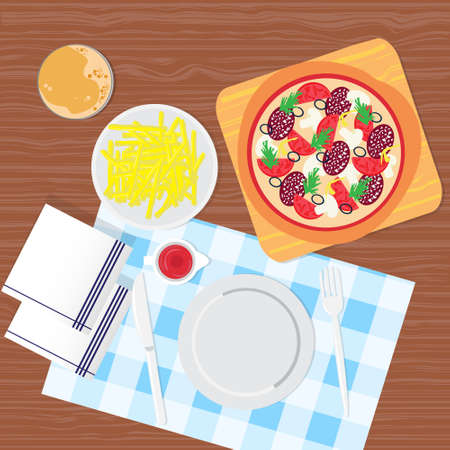 top angle view: Breakfast Table Food Top Angle View Vector Illustration