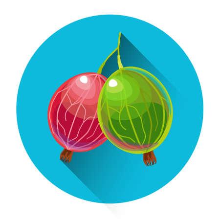 gooseberry bush: Gooseberry Colorful Fruit Icon Flat Vector Illustration