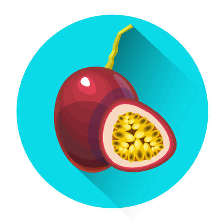 passion  ecology: Passionfruit Colorful Fruit Icon Flat Vector Illustration