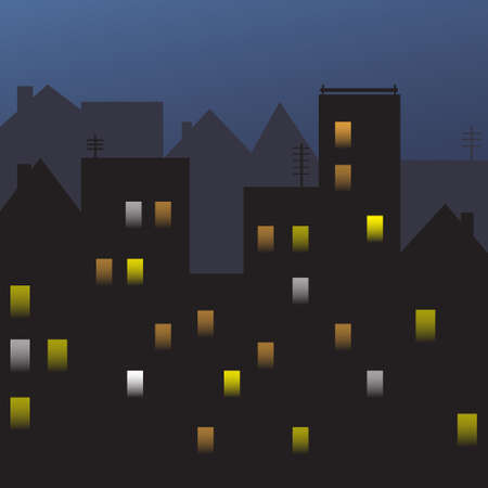 clouds scape: Night City View Silhouette Houses Flat Vector Illustration