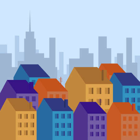 city view: City View Silhouette Houses Flat Vector Illustration