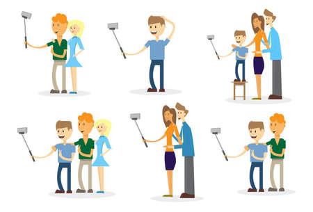 People Set Taking Selfie Photo On Smart Phone With Stick Vector Illustration Illustration