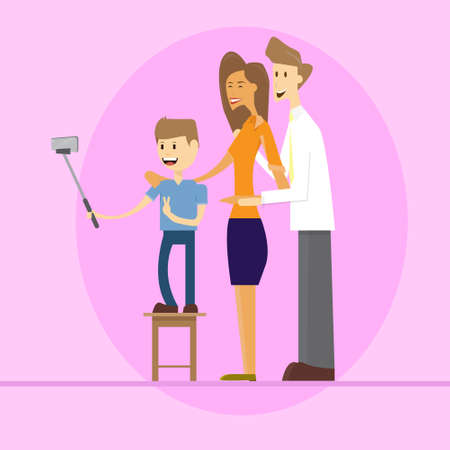 Family Parents With Son Taking Selfie Photo On Smart Phone With Stick Flat Vector Illustration