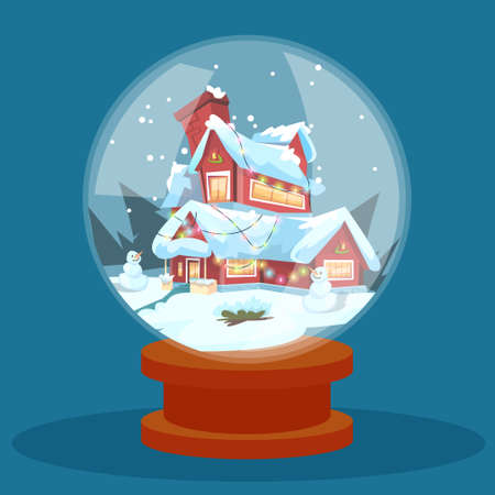 holiday house: Wish Glass Ball Christmas Eve Holiday House Winter Snow Greeting Card Flat Vector Illustration