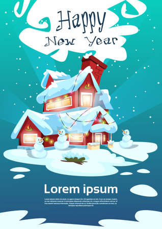 Christmas Eve Holiday House Winter Snow, Snowman Gift New Year Greeting Card Flat Vector Illustration