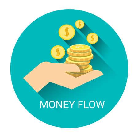 Money Flow Business Economy Icon Flat Vector Illustration Illustration