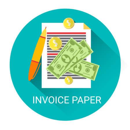Invoice Financial Bill Paper Business Economy Icon Flat Vector Illustration