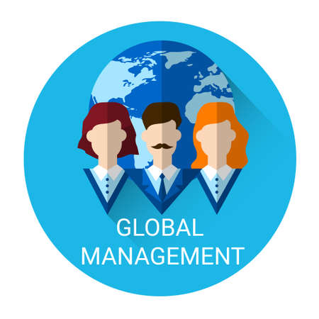 outsource: Global Management Business Outsource Employment Icon Flat Vector Illustration Illustration