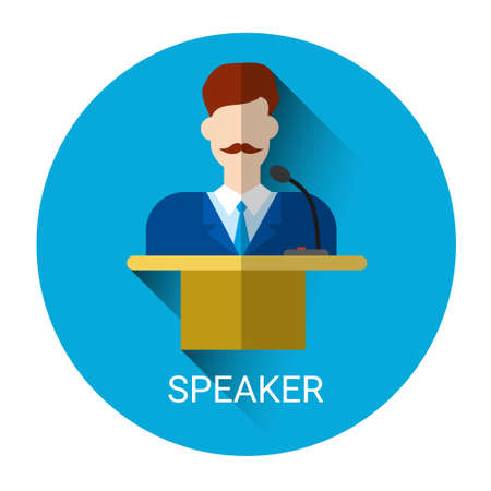 tribune: Business Man Speaker Standing Over Tribune Icon Flat Vector Illustration Illustration