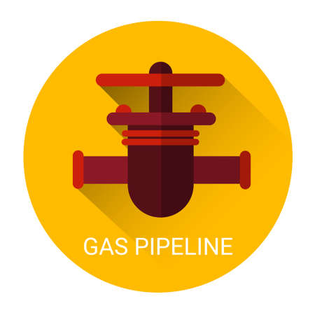 gas pipeline: Gas Pipeline Icon Pipe Flat Vector Illustration