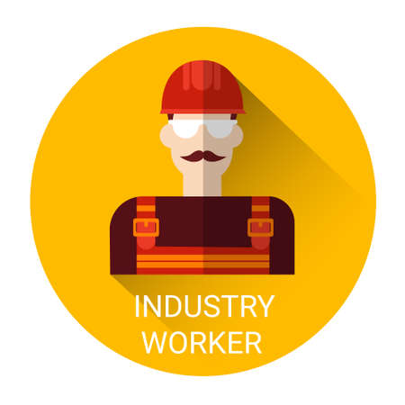 industry worker: Industry Worker Man Icon Flat Vector Illustration