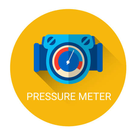 air gauge: Pressure Meter Icon Flat Vector Illustration