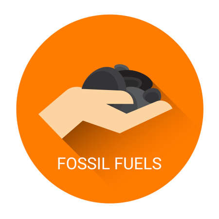ember: Fossil Fuels Hand Icon Flat Vector Illustration