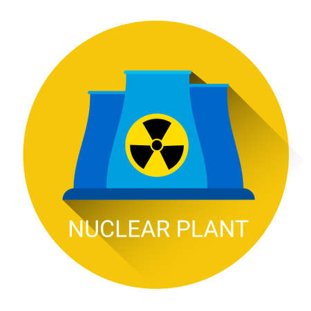 nuclear power: Nuclear Power Plant Icon Flat Vector Illustration Illustration