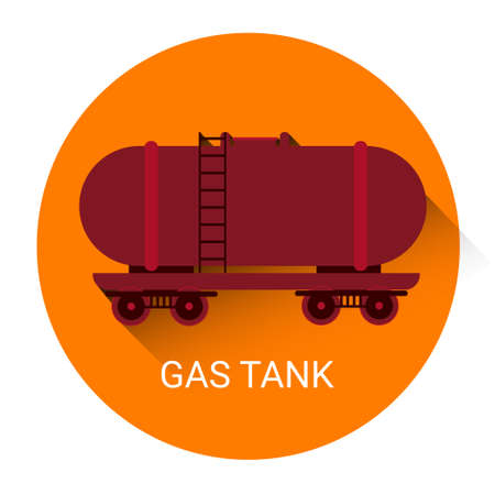 compressed gas cylinder: Gas Tank Icon Flat Vector Illustration Illustration