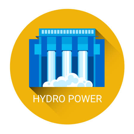 powerhouse: Hydro Power Station Icon Flat Vector Illustration