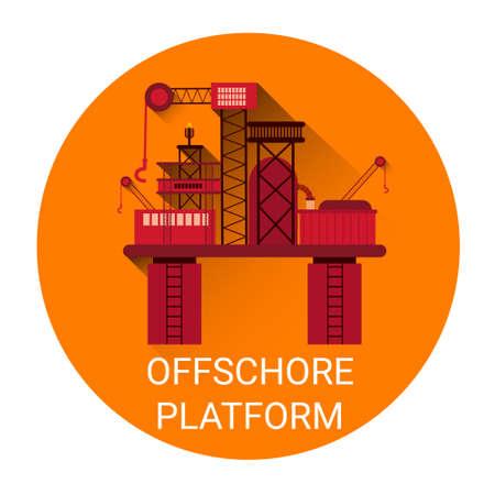 Offshore Platform Orange Icon Flat Vector Illustration Иллюстрация