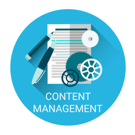creation of sites: Content Management Business Icon Flat Vector Illustration Illustration