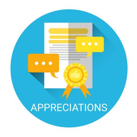 appreciations: Appreciations Business Evaluation Icon Flat Vector Illustration