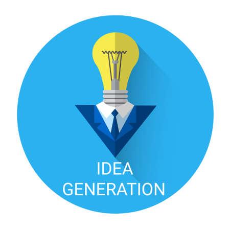 idea generation: New Idea Generation Light Bulb Business Icon Flat Vector Illustration
