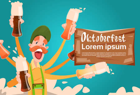 patric: Bearded Man Hold Beer Glasses Oktoberfest Festival Banner Flat Vector Illustration