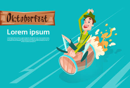 patric: Man Green Patric Ride Beer Barrel Oktoberfest Festival Banner Flat Vector Illustration Illustration