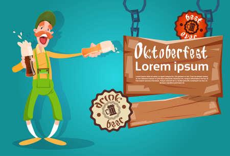 vasos de cerveza: Hombre de la barba del asimiento de la ilustración de los vidrios de cerveza Oktoberfest Festival Banner plana vectorial