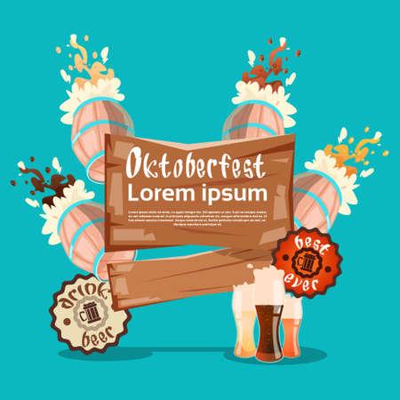 Beer Glass Barrel Oktoberfest Festival Banner Flat Vector Illustration Illustration
