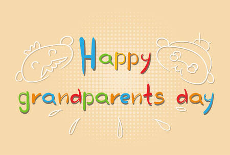 happy mature couple: Grandfather With Grandmother Happy Grandparents Day Greeting Card Banner Vector Illustration Illustration