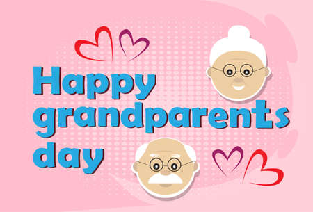 retired: Grandfather With Grandmother Happy Grandparents Day Greeting Card Banner Flat Vector Illustration