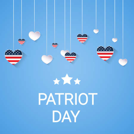 United States Flag National USA Patriot Day Banner Flat Vector Illustration