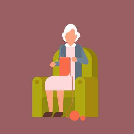 Grandmother Sitting In Armchair Kniting Flat Vector Illustration