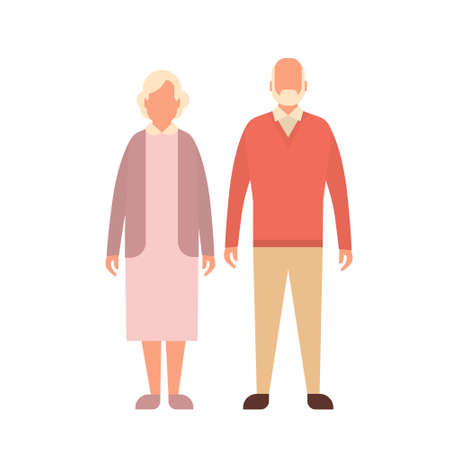Senior Man Woman, Couple Grandfather Grandmother Full Length Flat Vector Illustration Illustration