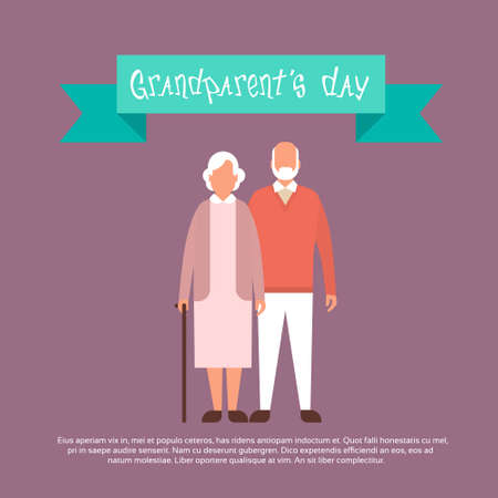older couple: Grandfather With Grandmother Happy Grandparents Day Greeting Card Banner Flat Vector Illustration