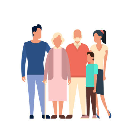 Big Family Kids Parents Grandparents Generation Flat Vector Illustration
