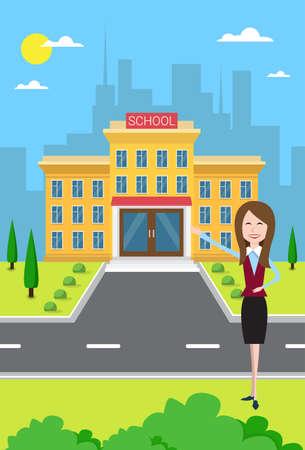 Teacher Near School Building Exterior City View Flat Vector Illustration
