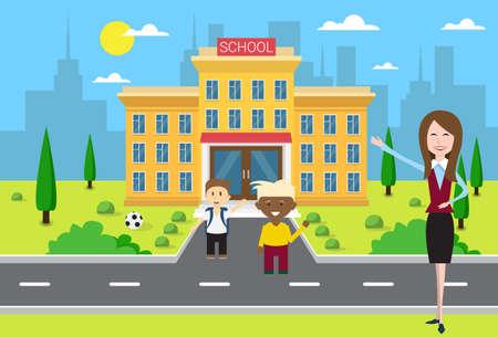 schoolchildren: Schoolchildren Group With Teacher Near School Building Exterior Flat Vector Illustration